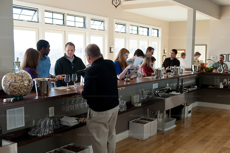 Customers line the bar for tastings at Delaplane Cellars.