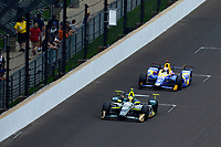 Verizon IndyCar Series<br /> Indianapolis 500 Race<br /> Indianapolis Motor Speedway, Indianapolis, IN USA<br /> Sunday 28 May 2017<br /> Ed Carpenter, Ed Carpenter Racing Chevrolet, Alexander Rossi, Andretti Herta Autosport with Curb-Agajanian Honda<br /> World Copyright: F. Peirce Williams<br /> LAT Images