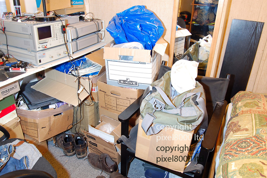 """Trial of Michael Seed  - known as """"Basil""""  - over the Hatton Garden security deposit box raid.<br /> <br /> police photos of inside the Islington flat of Seed and items of jewellery recovered that were believed to be stolen in the raid.<br /> <br /> <br /> <br /> Picture by Pixel8000 07917221968"""