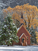 Yosemite National Park, California: Yosemite Valley Chapel (1879) in  snow falling. It is the oldest structure in Yosemite Valley.