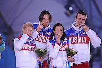 OLYMPICS: SOCHI: Medal Plaza, 13-02-2014, Figure Skating, Pairs, Ksenia Stolbova and Fedor Klimov (RUS), Tatiana Volosozhar and Maxim Trankov (RUS), ©photo Martin de Jong