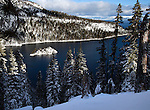 """White Christmas""   Fannette Island in Emerald Bay.  I hiked out to Emerald Bay on Christmas Eve 2012 after a fresh snow storm.  I had to break trail in the deep fresh snow and I was rewarded with  this view.  Lake Tahoe in the winter is spectacular when covered with fresh snow.  For many here at the lake this was a fantastic Christmas present."