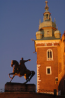 Poland, Krakow, Wawel, Tadeusz Kosciuszko Monument  and Cathedral tower