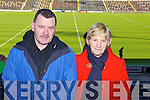 Pictured at the Dr Crokes match in Portlaoise on Saturday, from left: Eddie Hussey (Sneem) and Margaret Hussey (Sneem)..
