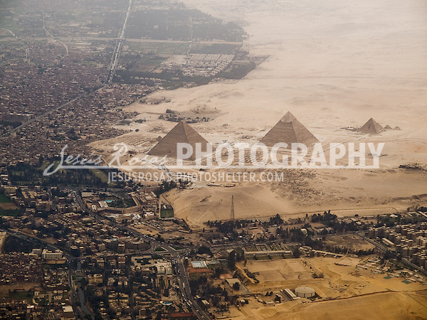 Aerial view of Giza Pyramids, Giza, Egypt. 2009.