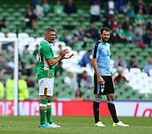June 4th 2017, Aviva Stadium, Dublin, Ireland; International Friendly, Ireland versus Uruguay;  Jonathan Walters of Ireland is ready for the second half to begin
