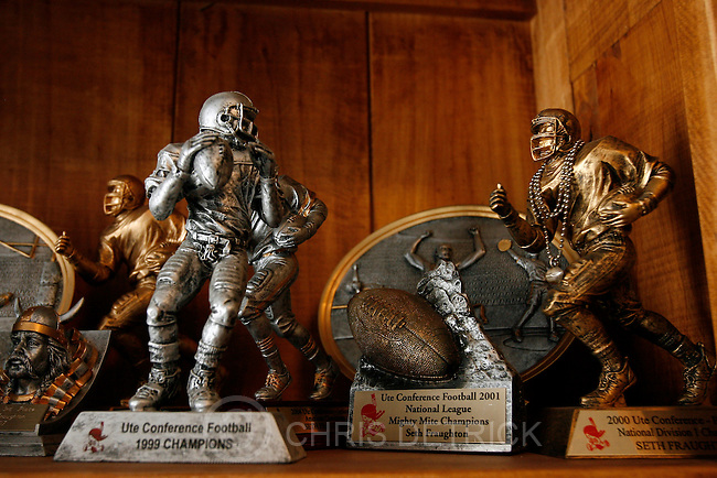 Football trophies remain in Seth Fraughton's bedroom.   Fraughton, the Co-Captain of the Viewmont High School Football, died Saturday, August 4, 2007 in a drowning accident at Cisco Beach at Bear Lake, Utah. ..Photo by Chris Detrick/The Salt Lake Tribune.frame #_2CD1450.
