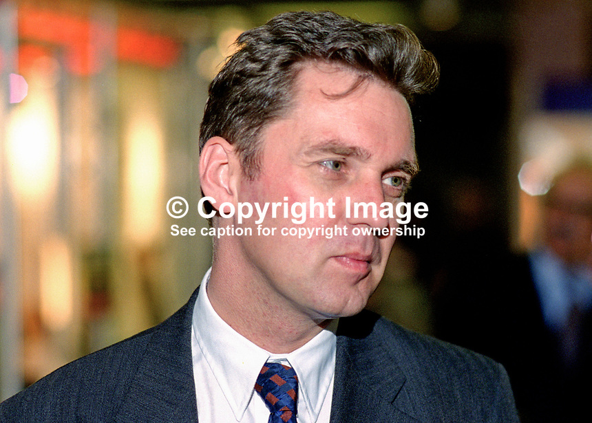 Alan Milburn, MP, UK, Labour Party, 199509108.<br /> <br /> Copyright Image from Victor Patterson, 54 Dorchester Park, <br /> Belfast, UK, BT9 6RJ<br /> <br /> t1: +44 28 9066 1296 (from Rep of Ireland 048 9066 1296)<br /> t2: +44 28 9002 2446 (from Rep of Ireland 048 9002 2446)<br /> m: +44 7802 353836<br /> <br /> e1: victorpatterson@me.com<br /> e2: victorpatterson@gmail.com<br /> www.victorpatterson.com<br /> <br /> Please see my Terms and Conditions of Use at www.victorpatterson.com. It is IMPORTANT that you familiarise yourself with them.<br /> <br /> Images used on the Internet must be visibly watermarked i.e. &copy; Victor Patterson<br /> within the body of the image and copyright metadata must not be deleted. Images <br /> used on the Internet have a size restriction of 4kbs and will be chargeable at current<br />  NUJ rates unless agreed otherwise.<br /> <br /> This image is only available for the use of the download recipient i.e. television station, newspaper, magazine, book publisher, etc, and must not be passed on to any third <br /> party. It is also downloaded on condition that each and every usage is notified within 7 days to victorpatterson@me.com<br /> <br /> The right of Victor Patterson to be identified as the author is asserted in accordance with The Copyright Designs And Patents Act (1988). All moral rights are asserted.