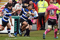 Cooper Vuna of Bath Rugby runs in a first half try. Anglo-Welsh Cup Final, between Bath Rugby and Exeter Chiefs on March 30, 2018 at Kingsholm Stadium in Gloucester, England. Photo by: Patrick Khachfe / Onside Images
