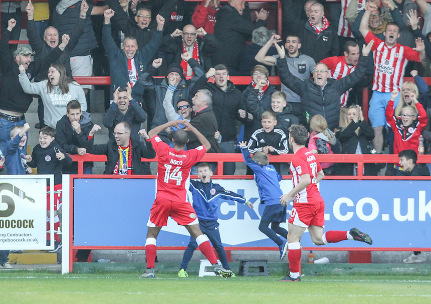 Accrington Stanley's Romuald Boco celebrates scoring his side's second goal <br /> <br /> Photographer Alex Dodd/CameraSport<br /> <br /> The EFL Sky Bet League Two - Accrington Stanley v Blackpool - Saturday 15th October 2016 - Wham Stadium - Accrington<br /> <br /> World Copyright &copy; 2016 CameraSport. All rights reserved. 43 Linden Ave. Countesthorpe. Leicester. England. LE8 5PG - Tel: +44 (0) 116 277 4147 - admin@camerasport.com - www.camerasport.com