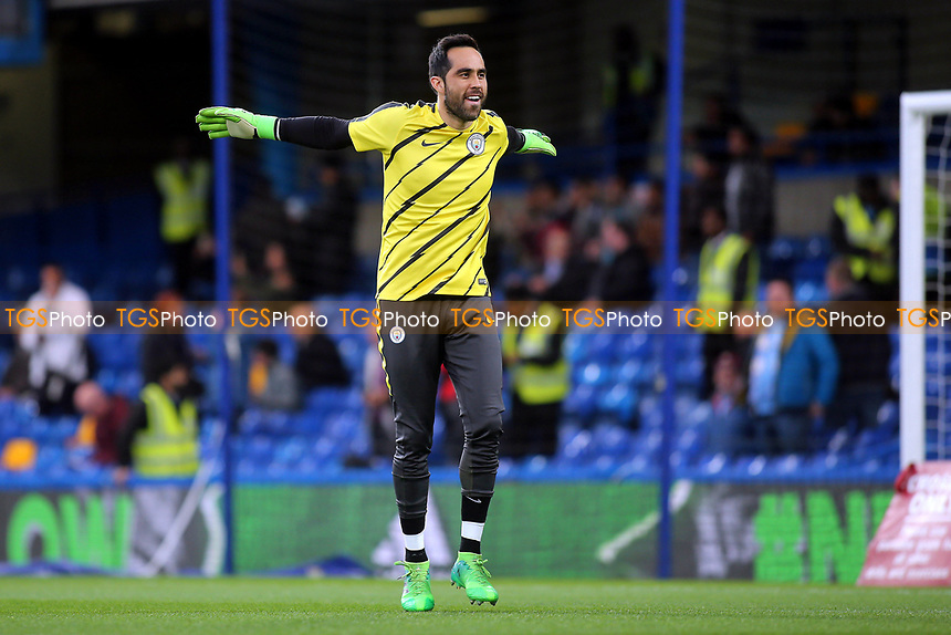Manchester City goalkeeper, Claudio Bravo, warms up pre-match during Chelsea vs Manchester City, Premier League Football at Stamford Bridge on 5th April 2017