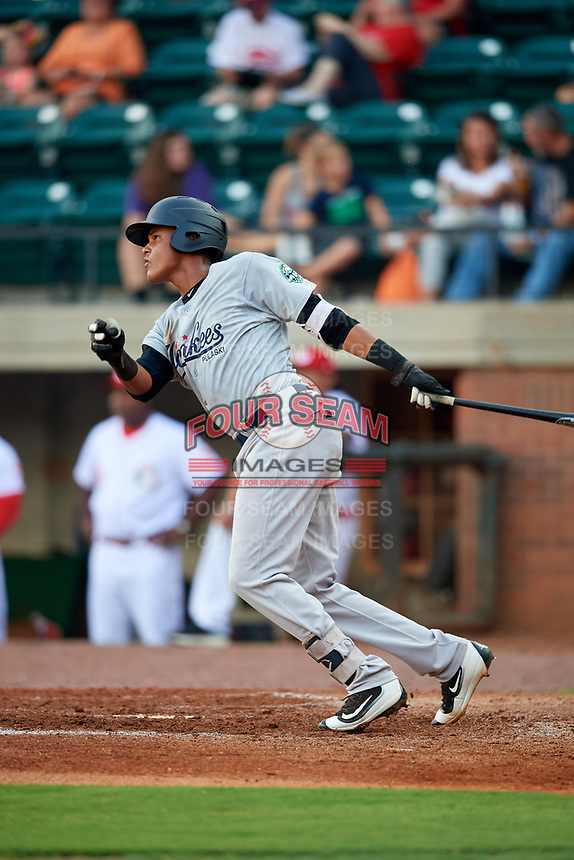 Pulaski Yankees first baseman Carlos Tatis (72) follows through on a swing during a game against the Greeneville Reds on July 27, 2018 at Pioneer Park in Tusculum, Tennessee.  Greeneville defeated Pulaski 3-2.  (Mike Janes/Four Seam Images)