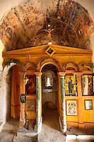 Interior of the Byzantine church of the Metamorphosis, Paliachora,  Aegina, Greek Saronic Islands
