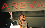 April 19, 2011, Tokyo, Japan - Anne Lauvergeon, chief executive of French nuclear engineering company Areva, gestures as she speaks during a news conference upon her return to Tokyo on Tuesday, April 19, 2011. The head of the French nuclear reactor maker said her company will set up a treatment process to deal with most of the contaminated water from the damaged nuclear power plant in Fukushima Prefecture, some 200km northeast of Tokyo. She was in town at the request of Tokyo Electric Power Co., the operator of the crippled plant. (Photo by Natsuki Sakai/AFLO) [3615] -mis-.