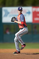 Hagerstown Suns starting pitcher Jackson Tetreault (35) in action against the Kannapolis Intimidators at Kannapolis Intimidators Stadium on May 6, 2018 in Kannapolis, North Carolina. The Intimidators defeated the Suns 4-3. (Brian Westerholt/Four Seam Images)