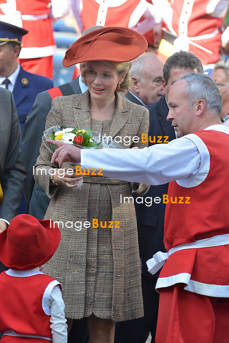 King Philippe of Belgium &amp; Queen Mathilde of Belgium pictured during the 'Joyous Entry'  celebration in Namur.<br /> October 2, 2013.