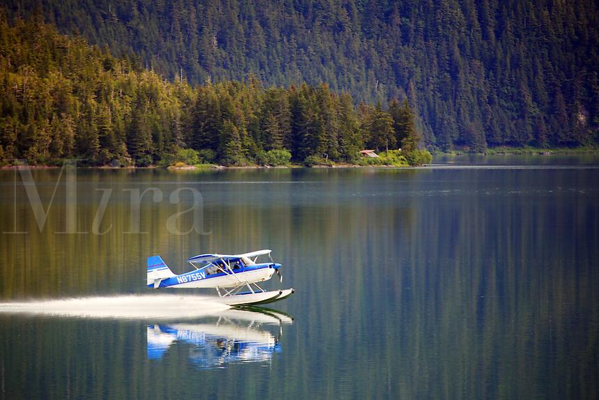 Floatplane on Eyak Lake, Cordova, Chugach National Forest, Alaska.