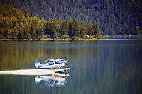 Floatplane on Eyak Lake, Cordova, Chugach National Forest, Alaska.
