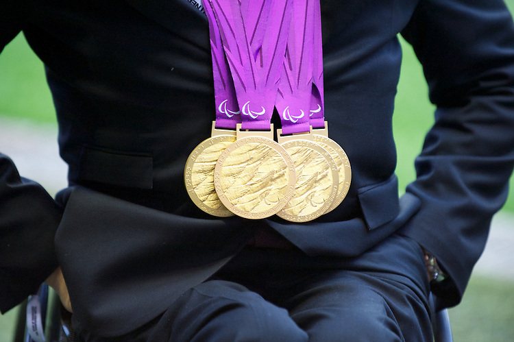 Detail of David Weir's four Paralympic gold medals  during the Cook Cup between England and Australia, part of the QBE International series, at Twickenham on Saturday 17th November 2012 (Photo by Rob Munro)