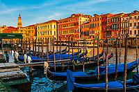 Gondolas along the Grand Canal near the Rialto Bridge, Venice, Italy.