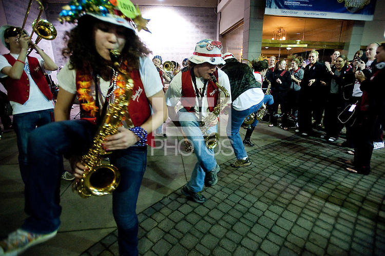 SPOKANE, WA - MARCH 26, 2011: Stanford Band at the Stanford Women's Basketball pre-game festivites at the Davenport Hotel, NCAA West Regionals on March 26, 2011.