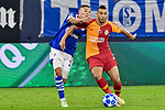 06.11.2018, Veltins-Arena, Gelsenkirchen, GER, CL, FC Schalke 04 vs Galatasaray Istanbul, DFL regulations prohibit any use of photographs as image sequences and/or quasi-video <br /> <br /> im Bild v. li. im Zweikampf Amine Harit (#25, FC Schalke 04) Younes Belhanda (#10, Galatasaray) <br /> <br /> Foto &copy; nordphoto/Mauelshagen