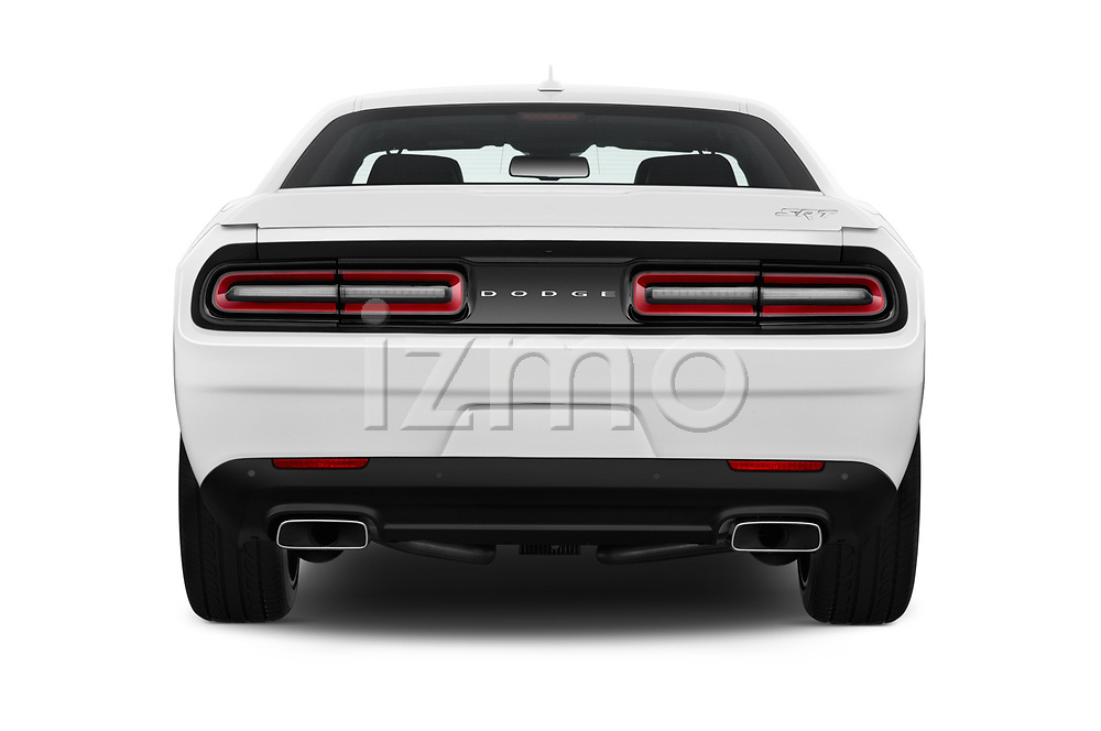 Straight rear view of 2017 Dodge Challenger SRT 3 Door Coupe stock images