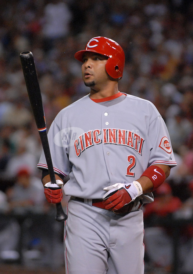 Apr 9, 2007; Phoenix, AZ, USA; Cincinnati Reds shortstop (2) Alex Gonzales against the Arizona Diamondbacks during the home opener at Chase Field in Phoenix, AZ. Mandatory Credit: Mark J. Rebilas