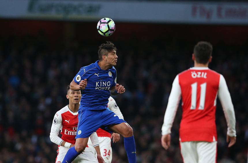 Leicester City's Leonardo Ulloa<br /> <br /> Photographer Stephen White/CameraSport<br /> <br /> The Premier League - Arsenal v Leicester City - Wednesday 26th April 2017 - Emirates Stadium - London<br /> <br /> World Copyright &copy; 2017 CameraSport. All rights reserved. 43 Linden Ave. Countesthorpe. Leicester. England. LE8 5PG - Tel: +44 (0) 116 277 4147 - admin@camerasport.com - www.camerasport.com