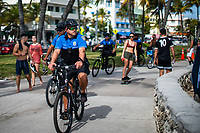MIAMI, USA - January 24: Miami policemen patrol around the area of the Super Bowl XLIV fan zone on January 24, 2020 in Miami Beach, USA.  The Super Bowl XLIV will take place in the Hard Rock Stadium in Miami between the teams 49ers vs. Chiefs, and it will be played on Sunday, Feb. 2, 2020. (Photo by VIEWpress)