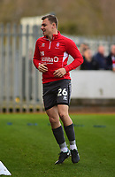 Lincoln City's Harry Anderson during the pre-match warm-up<br /> <br /> Photographer Andrew Vaughan/CameraSport<br /> <br /> The EFL Sky Bet League Two - Cambridge United v Lincoln City - Saturday 29th December 2018  - Abbey Stadium - Cambridge<br /> <br /> World Copyright © 2018 CameraSport. All rights reserved. 43 Linden Ave. Countesthorpe. Leicester. England. LE8 5PG - Tel: +44 (0) 116 277 4147 - admin@camerasport.com - www.camerasport.com