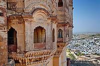 Mehrangarh Fort towering above Jodhpur, The Blue City, India