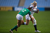 16th March 2018, Ricoh Arena, Coventry, England; Womens Six Nations Rugby, England Women versus Ireland Women; Rachael Burford of England is tackled by Sene Naoupu of Ireland