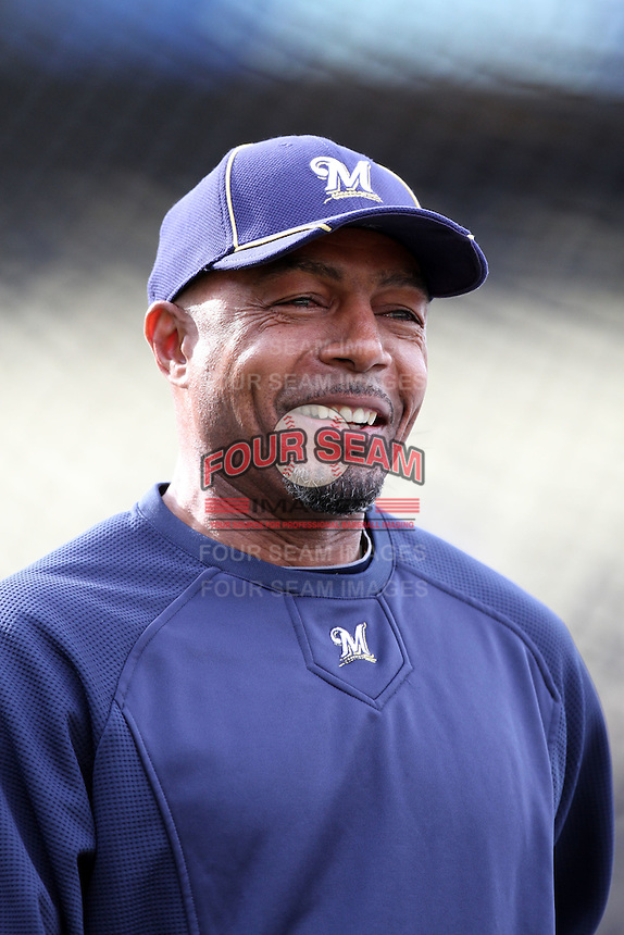 John Shelby #31, coach with the Milwaukee Brewers, before game  against the Los Angeles Dodgers at Dodger Stadium in Los Angeles,California on May 16, 2011. Photo by Larry Goren/Four Seam Images