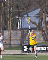 University of Vermont midfielder Natalie Jones (2) passes the ball. Boston College defeated University of Vermont, 15-9, at Newton Campus Field, April 4, 2012.