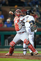 Glendale Desert Dogs Carson Kelly (71), of the St. Louis Cardinals organization, throws to first behind batter Gleyber Torres (17) during a game against the Scottsdale Scorpions on October 14, 2016 at Scottsdale Stadium in Scottsdale, Arizona.  Scottsdale defeated Glendale 8-7.  (Mike Janes/Four Seam Images)