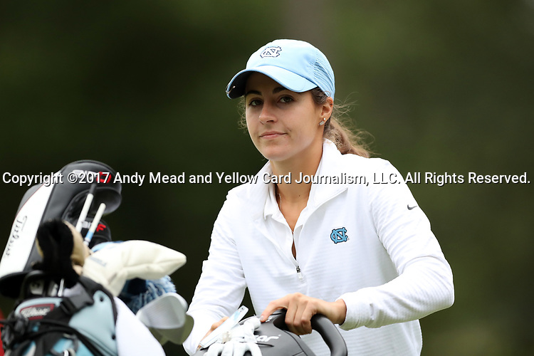 CHAPEL HILL, NC - OCTOBER 14: North Carolina's Mariana Ocano sinks a birdie putt on the 2nd hole. The second round of the Ruth's Chris Tar Heel Invitational Women's Golf Tournament was held on October 14, 2017, at the UNC Finley Golf Course in Chapel Hill, NC.