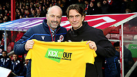 Reading Manager, Mark Bowen and Brentford Head Coach, Thomas Frank hold up a Kick It Out T-shirt ahead of kick-off during Brentford vs Reading, Sky Bet EFL Championship Football at Griffin Park on 23rd November 2019