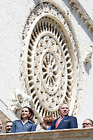 King Abd Allah II of Jordan and the Queen Rania<br /> Assisi March 29th 2019. St Francis Basilic. The lamp of the Peace 2019 is given to the King of Jordan.<br /> photo di Samantha Zucchi/Insidefoto
