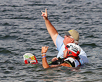 ORLANDO, FL - April 29:  Ian Hickmott AUS lets the boat team know that he is ready to compete. Scenes from  WWA Nautique Wake Series Open 2017 at  the Orlando Watersports Complex on April 29, 2017 in Orlando, Florida. (Photo by Liz Lamont/Eclipse Sportswire/Getty Images)