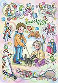Interlitho, Dani, TEENAGERS, paintings, boy, girl, dog(KL4115,#J#) Jugendliche, jóvenes, illustrations, pinturas ,everyday