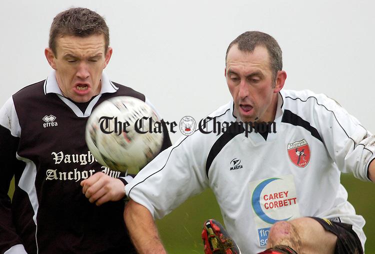 Manus Celtics Donal Walsh (r) battles with Moher B's David Commane at Tiermaclane.Pic Arthur Ellis.