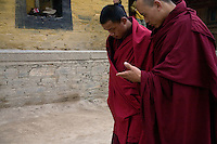 Tibetan Buddhist monks talk before morning prayers at the Labrang Monastery in Xiahe, Gansu, China. Xiahe, home of the Labrang Monastery, is an important site for Tibetan Buddhists.  The population of the town is divided between ethnic Tibetans, Muslims, and Han Chinese.
