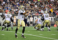 Thursday August 11, 2016: New Orleans Saints quarterback Garrett Grayson (18) passes the ball during an NFL pre-season game between the New Orleans Saints and the New England Patriots held at Gillette Stadium in Foxborough Massachusetts. The Patriots defeat the Saints 34-22 in regulation time. Eric Canha/CSM
