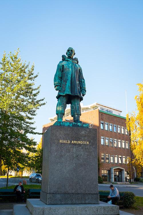 Statue of Norwegian Polar Explorer Roald Amundsen at Road Amundsen Plass in Tromso, Norway