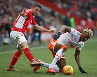Blackpool's Armand Gnanduillet shields possession from Charlton Athletic's Ben Purrington<br /> <br /> Photographer David Shipman/CameraSport<br /> <br /> The EFL Sky Bet League One - Charlton Athletic v Blackpool - Saturday 16th February 2019 - The Valley - London<br /> <br /> World Copyright © 2019 CameraSport. All rights reserved. 43 Linden Ave. Countesthorpe. Leicester. England. LE8 5PG - Tel: +44 (0) 116 277 4147 - admin@camerasport.com - www.camerasport.com