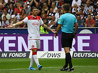 David Kownacki (Fortuna Düsseldorf) mit Schiedsrichter Frank Willenborg - 01.09.2019: Eintracht Frankfurt vs. Fortuna Düsseldorf, Commerzbank Arena, 3. Spieltag<br /> DISCLAIMER: DFL regulations prohibit any use of photographs as image sequences and/or quasi-video.