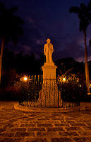 Havana capitol city of Cuba with lnight exposure of the statue of Carlos Manuel de Cespedes at twilight