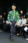 Artist Yoshida Yamada poses on the catwalk wearing clothes from the tenbo 2016 Spring-Summer Collection during the Mercedes-Benz Fashion Week Tokyo, in Roppongi on October 13, 2015, Tokyo, Japan. tenbo invited people with disabilities to join models and celebrities on the runway in a message of peace. The Mercedes-Benz Fashion Week Tokyo runs from October 12 to 17. (Photo by Rodrigo Reyes Marin/AFLO)