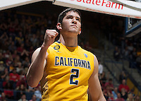 Sam Singer of California celebrates during 2014 National Invitation Tournament against Arkansas at Haas Pavilion in Berkeley, California on March 24th, 2014.  California defeated Arkansas, 75-64.